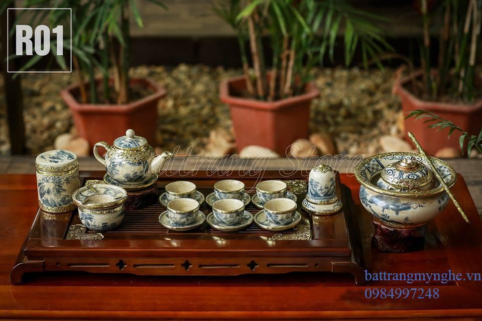 Bộ ấm chén dáng quả hồng- đầy đủ phụ kiện và điếu bát - men rạn cổ bọc đồng