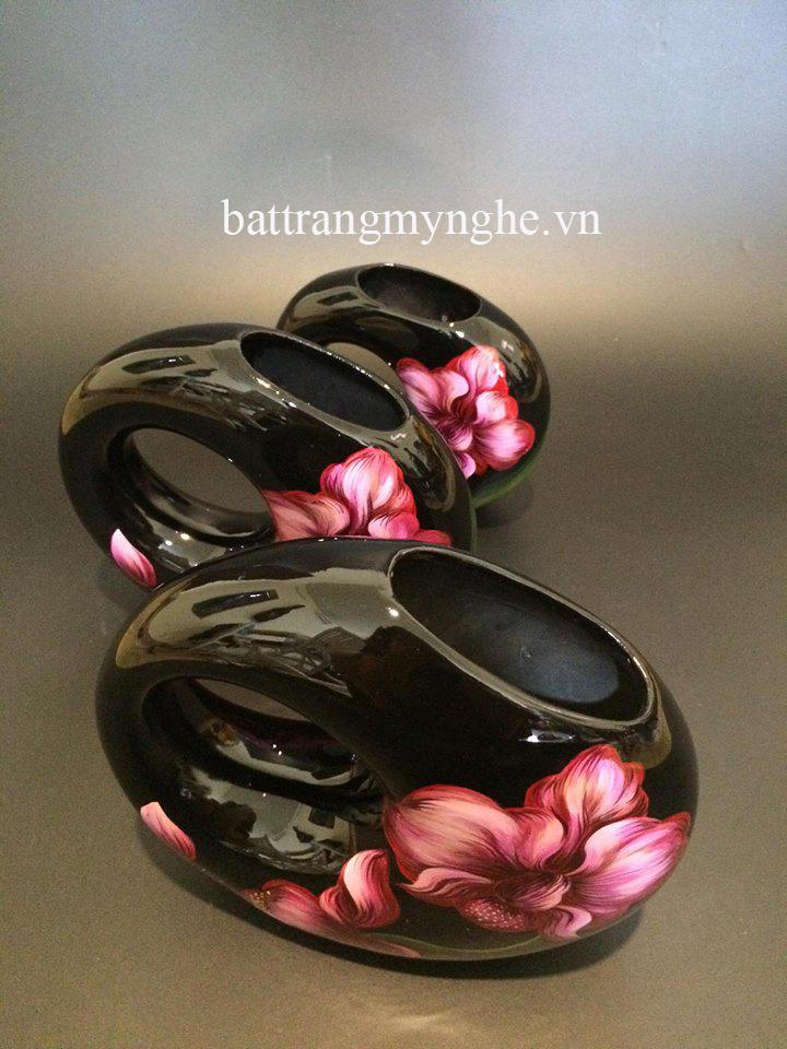 Lọ hoa mini vẽ hoa phong lan cao : 20cm, 22cm, 25cm