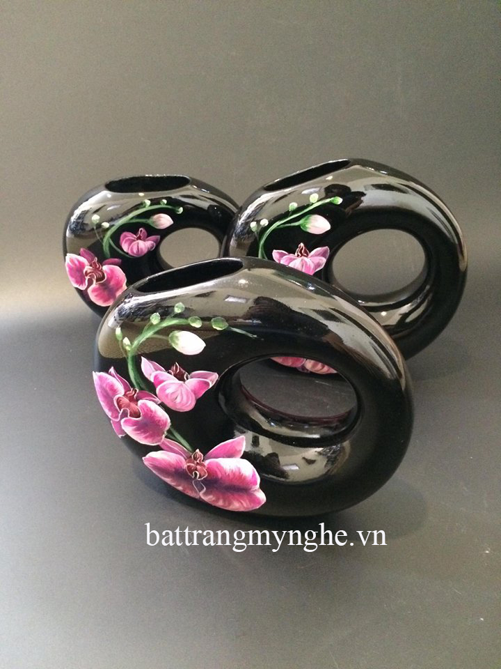 Lọ hoa mini size vẽ hoa phong lan cao : 20cm, 22cm, 25cm
