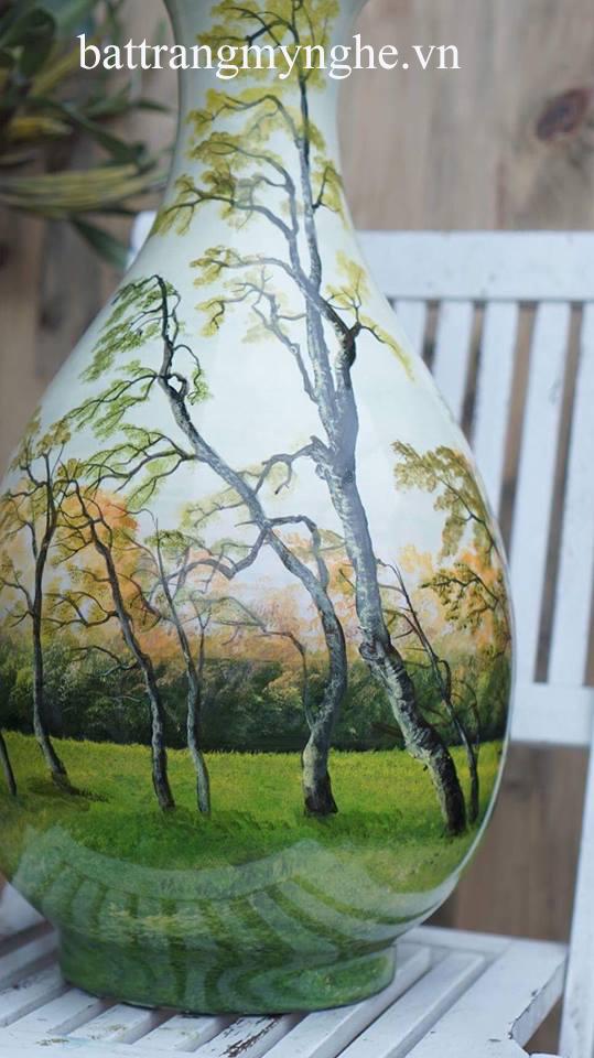 Lọ tỳ bà cao 60cm, đường kính 30cm vẽ cảnh rừng
