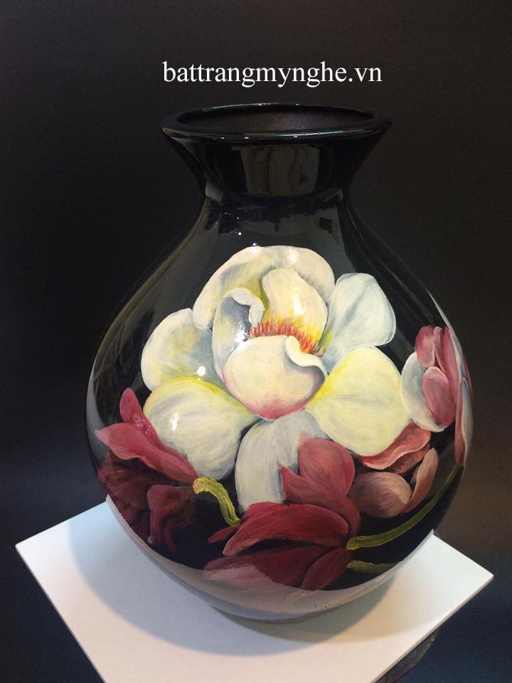 Lọ hoa cổ nhỏ vẽ mộc lan cao 35cm