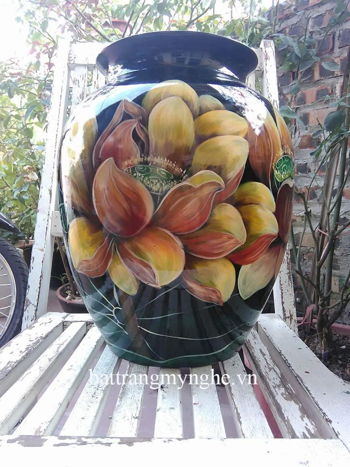 Lọ hoa vẽ sen cổ to cao 37cm