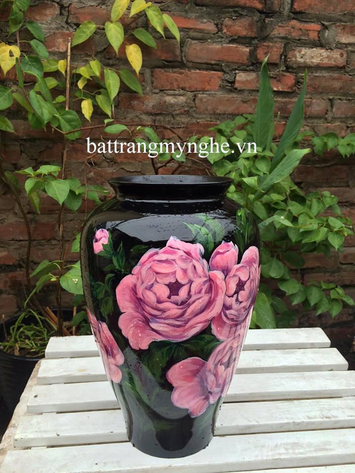 Lọ hoa vẽ hoa hồng cao 30cm