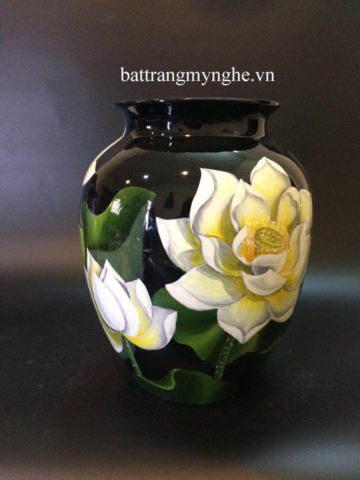 Lọ hoa sơn mài vẽ sen cao 40cm