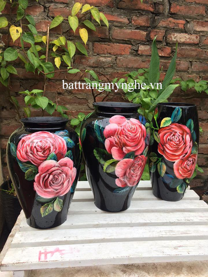 Lọ hoa vẽ hoa hồng cao 25cm đến 30cm