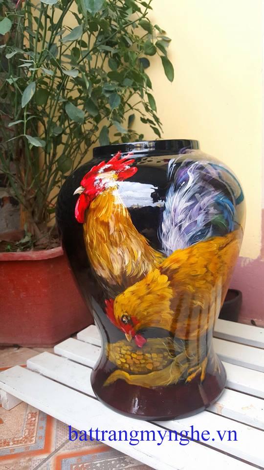 Lọ hoa vẽ gà cao 45cm hàng kĩ