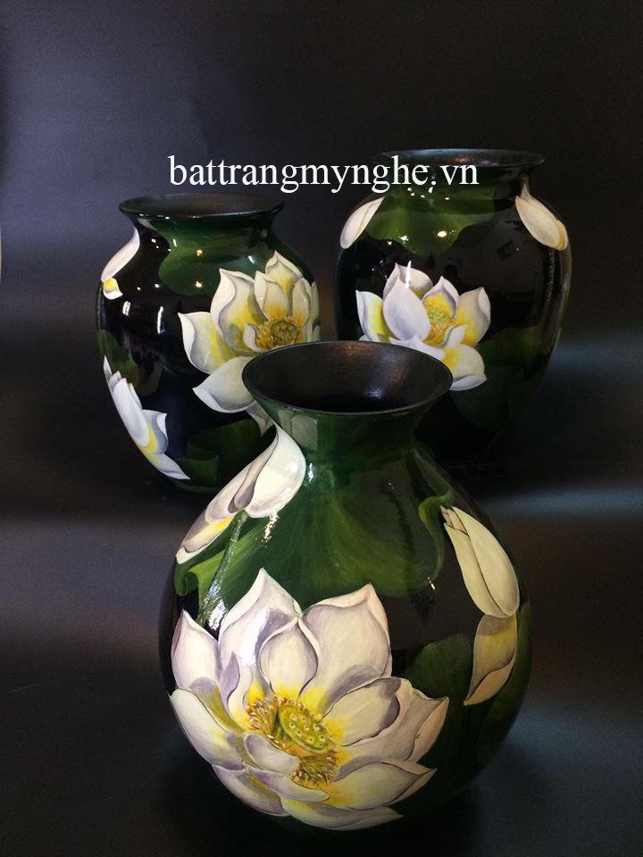 Lọ hoa sơn mài vẽ sen miệng nhỏ cao 35cm
