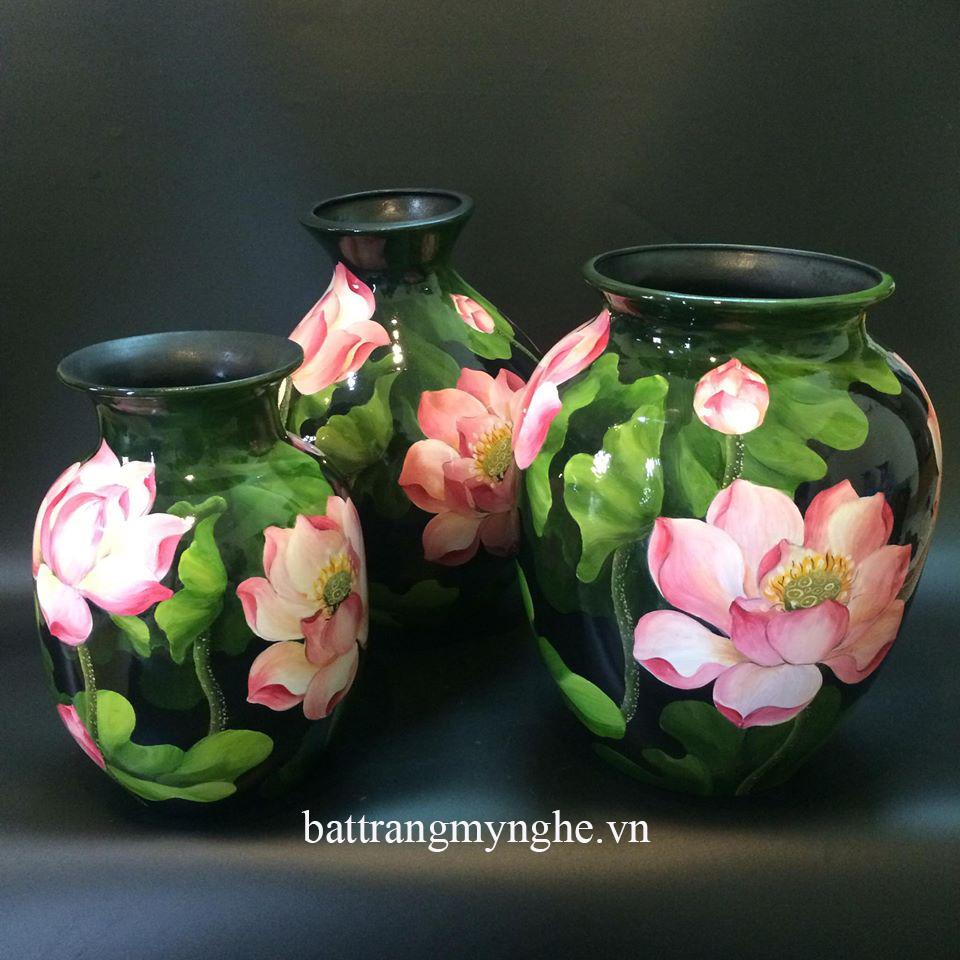 Lọ hoa sơn mài vẽ hoa sen cao 40cm