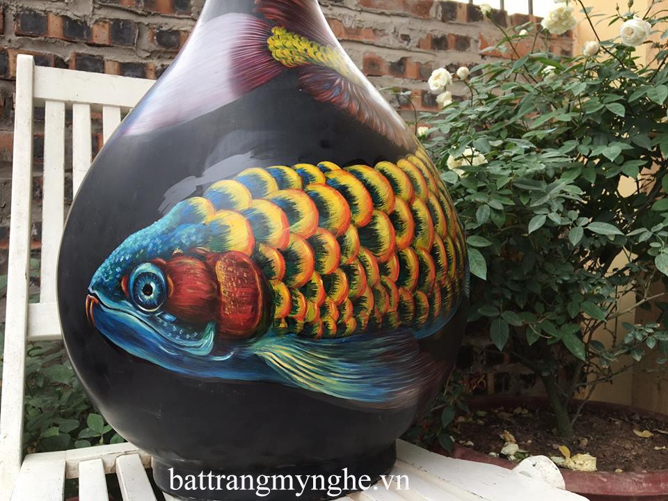 Lọ hoa tỳ bà cao 60cm vẽ cá rồng hàng kĩ