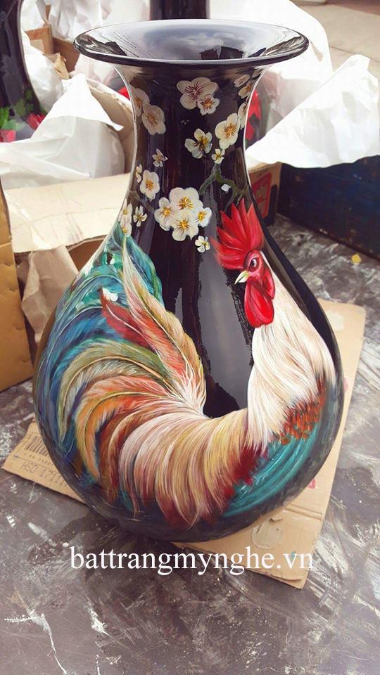 Lọ hoa tỳ bà cao 60cm vẽ gà hàng kĩ