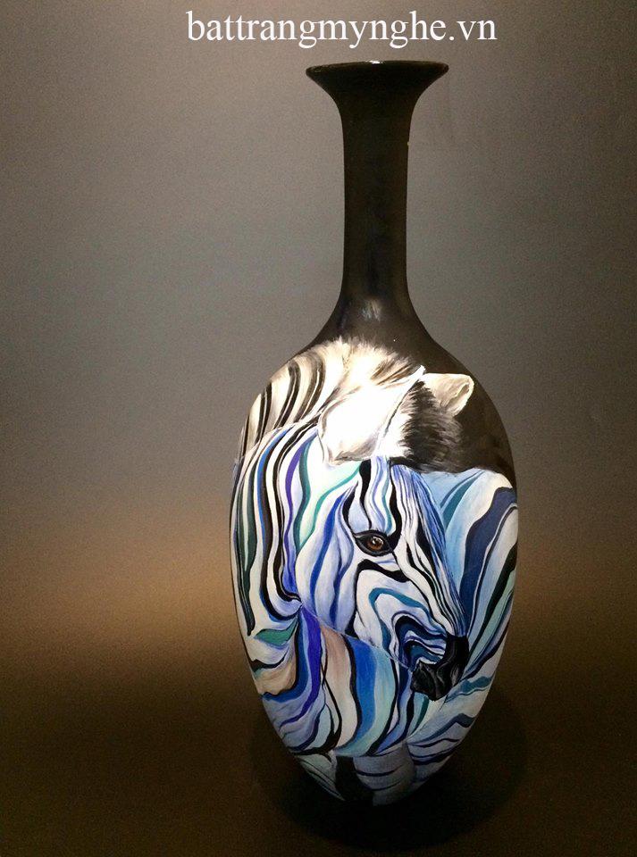Lọ hoa tỳ bà cao 55cm vẽ ngựa vằn