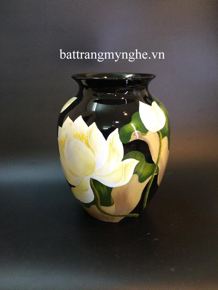Lọ hoa vẽ hoa sen cao 35cm