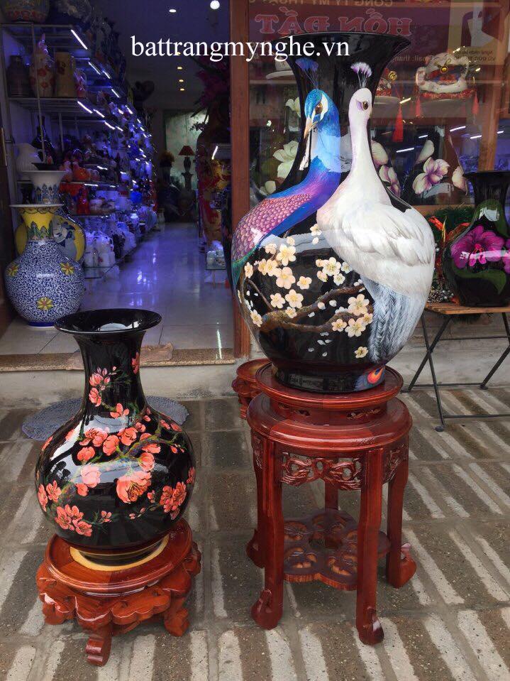 Lọ hoa sơn mài vẽ chim công cao 60cm