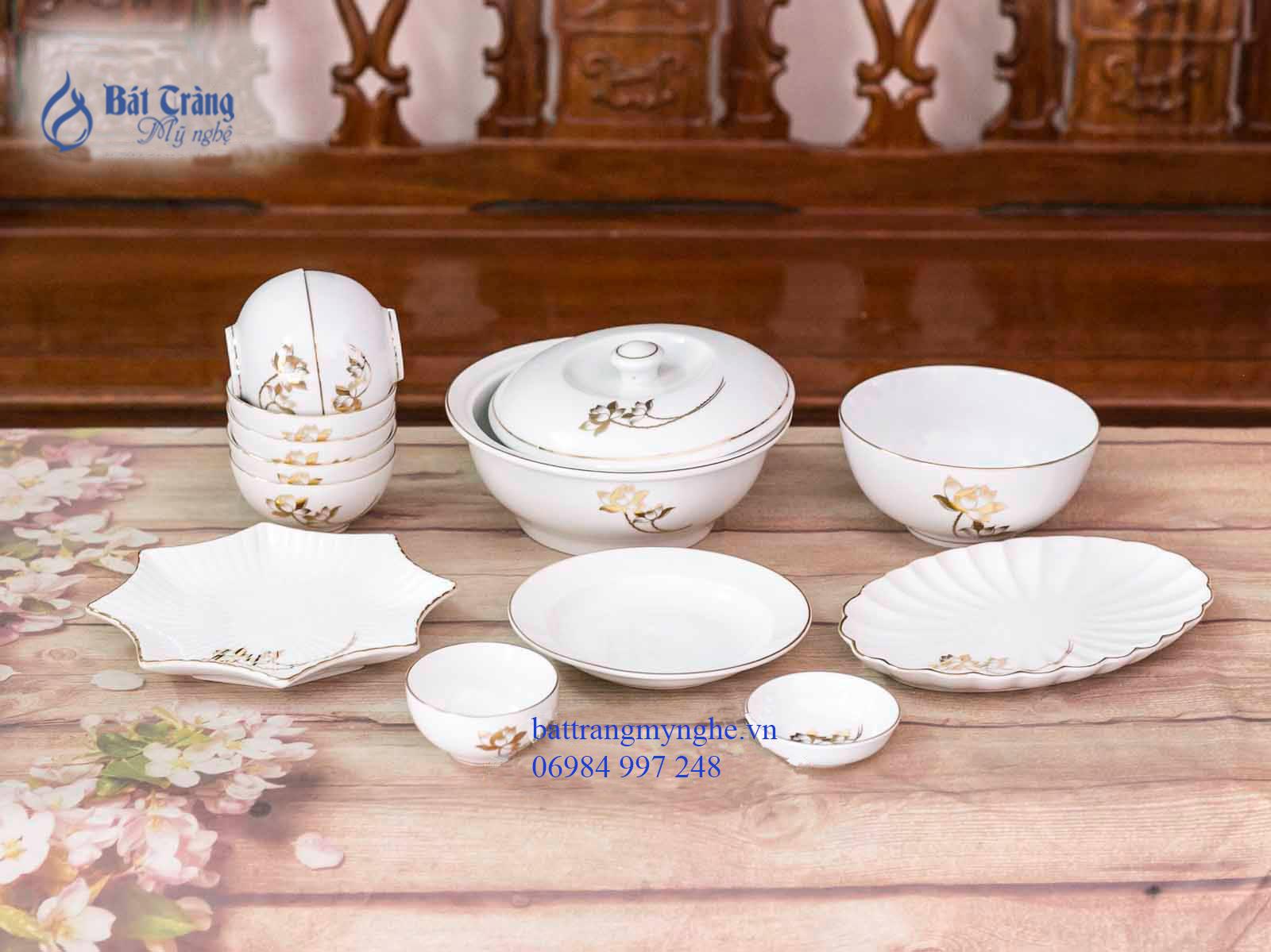 Bộ đồ ăn men trắng vẽ Sen Vàng Kim