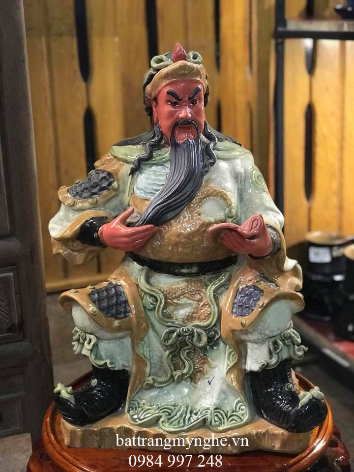 Tượng Quan Công ngồi đọc sách men rạn cao 40cm