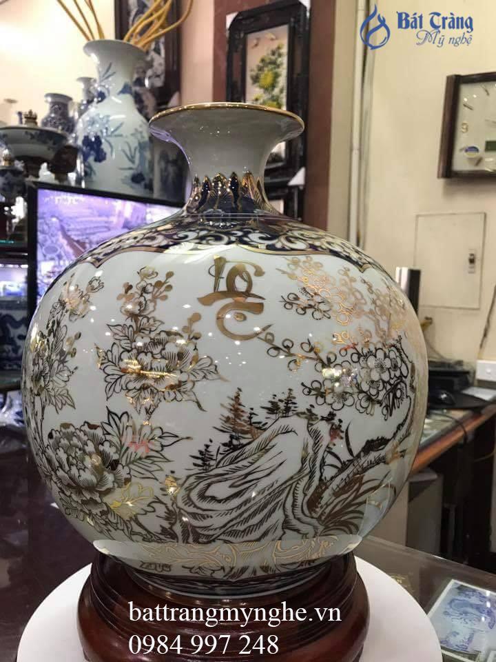 Bình hút tài lộc vẽ vàng Phúc Lộc cao 35cm
