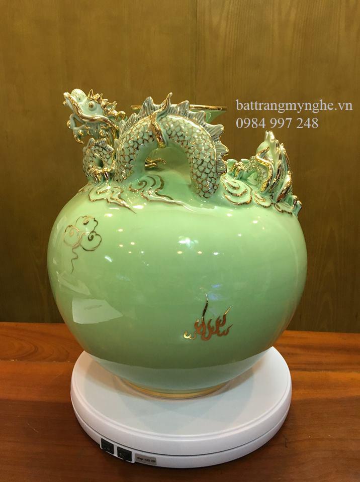 Bình đắp nổi rồng men xanh ngọc - cao 30cm