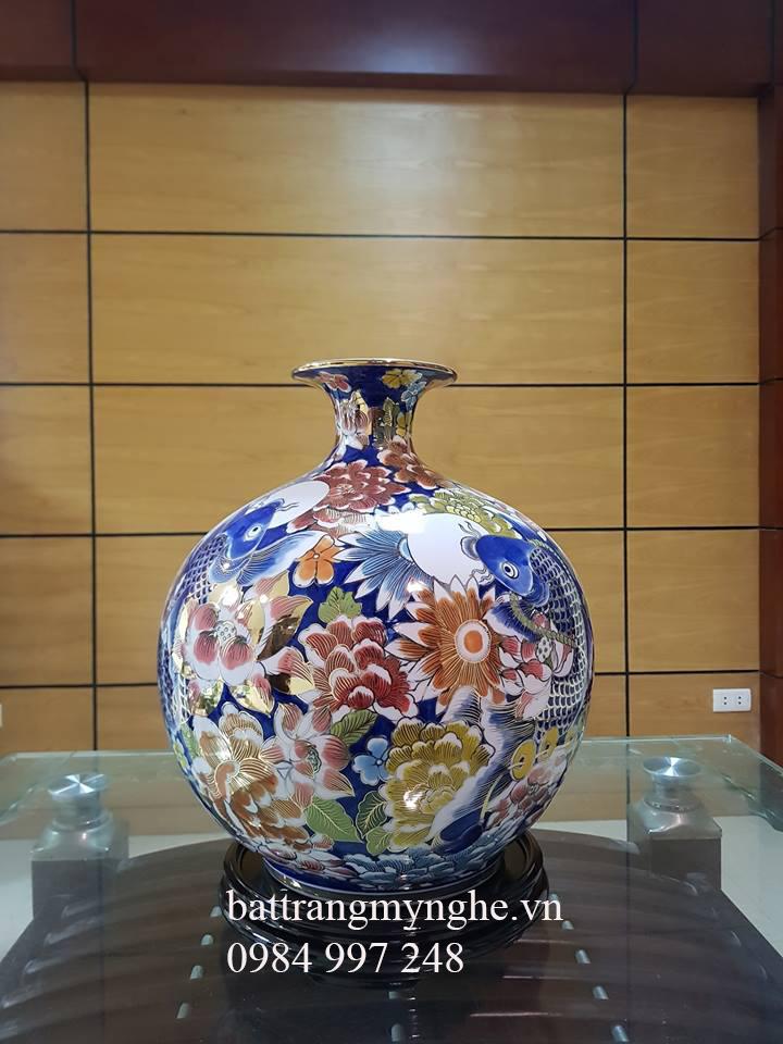 Bình hút tài lộc vẽ vàng - cá chép hoa - cao 35cm