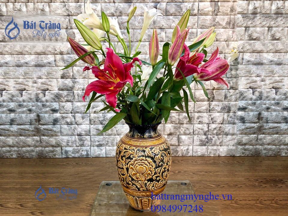 Lọa hoa men cổ khắc nổi hoa phù dung 36cm