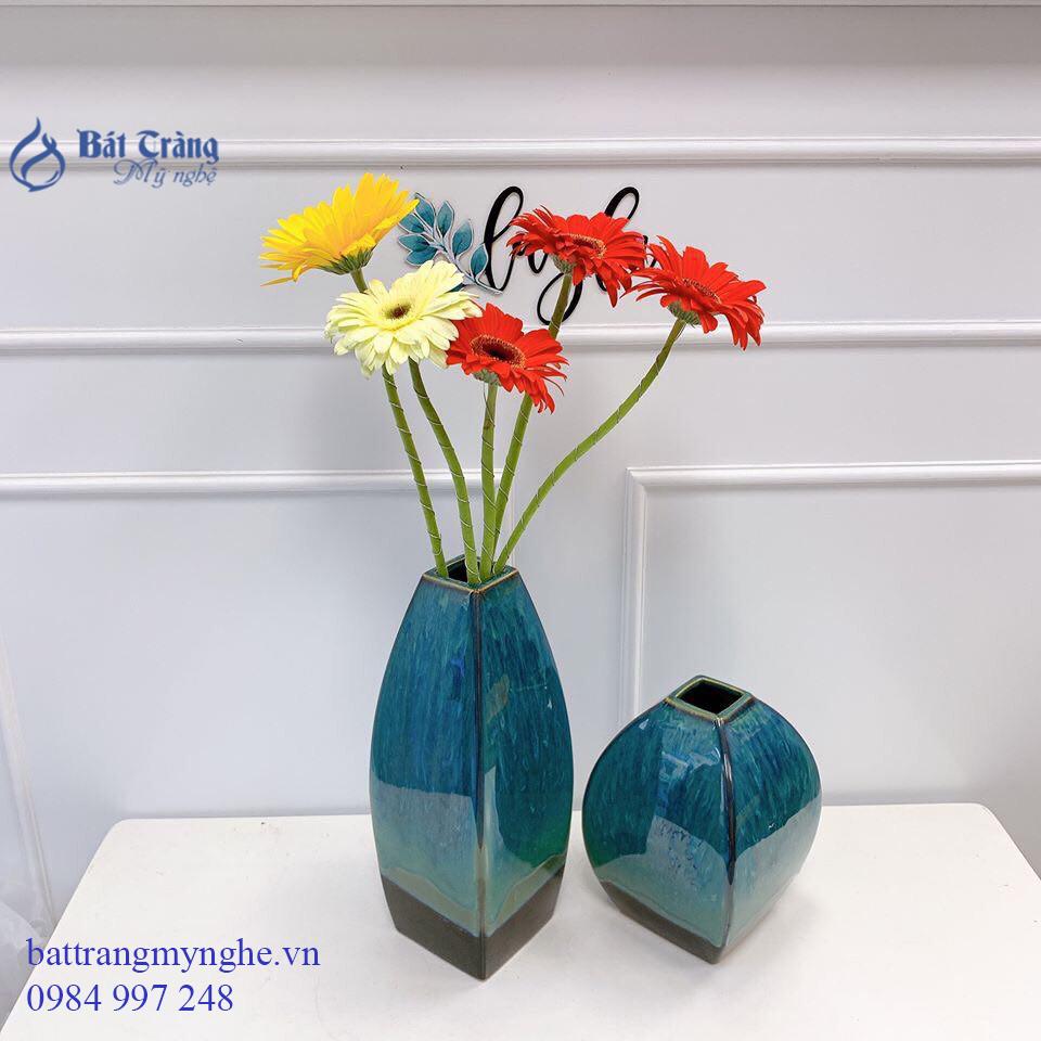 Bộ 2 lọ hoa dáng khối men xanh