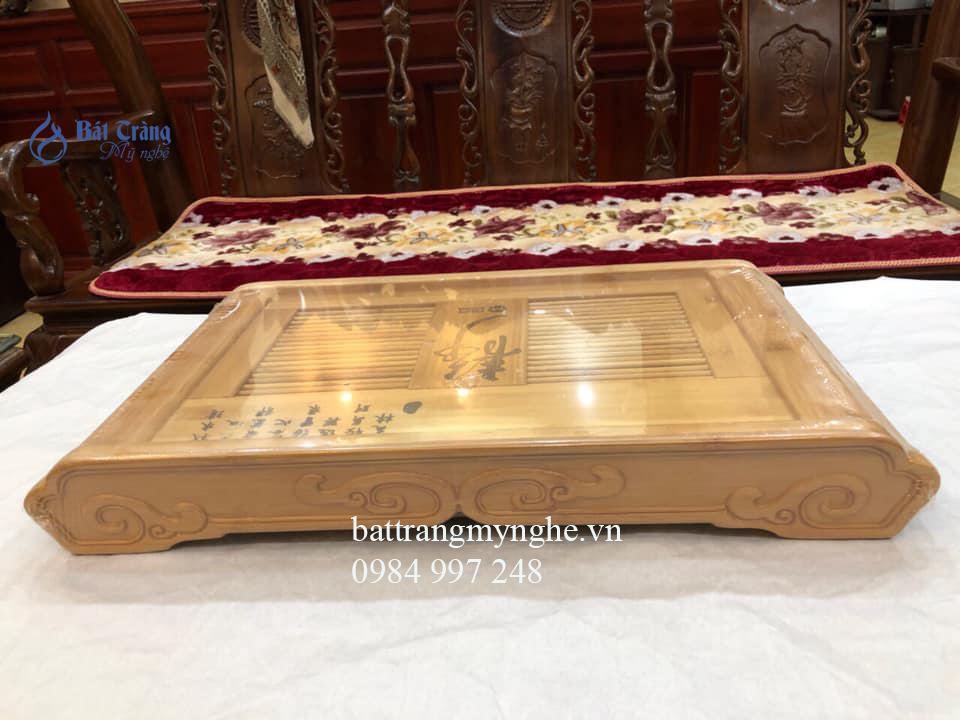 Khay gỗ sáng màu cao cấp dài 52cm rộng 31cm