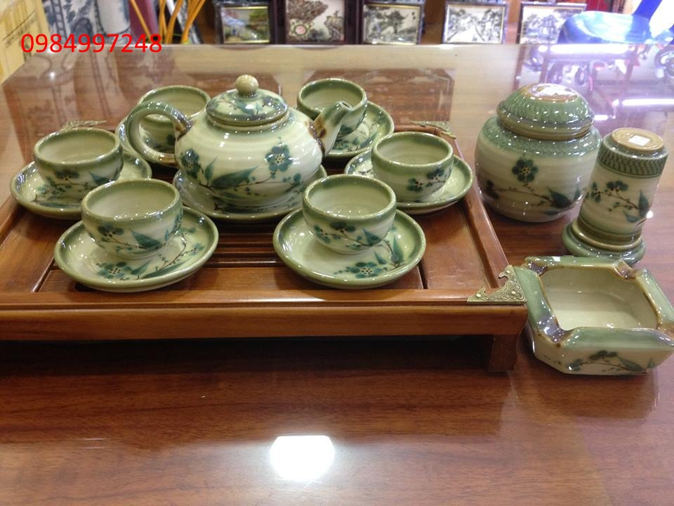 Bộ ấm trà giả vuốt trúc xanh dáng nhật  đầy đủ phụ kiện