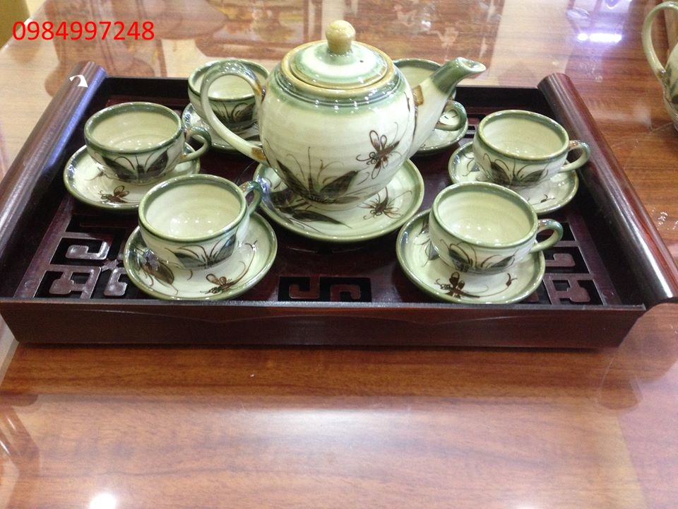 Bộ ấm trà vẽ chuồn chuồn đen