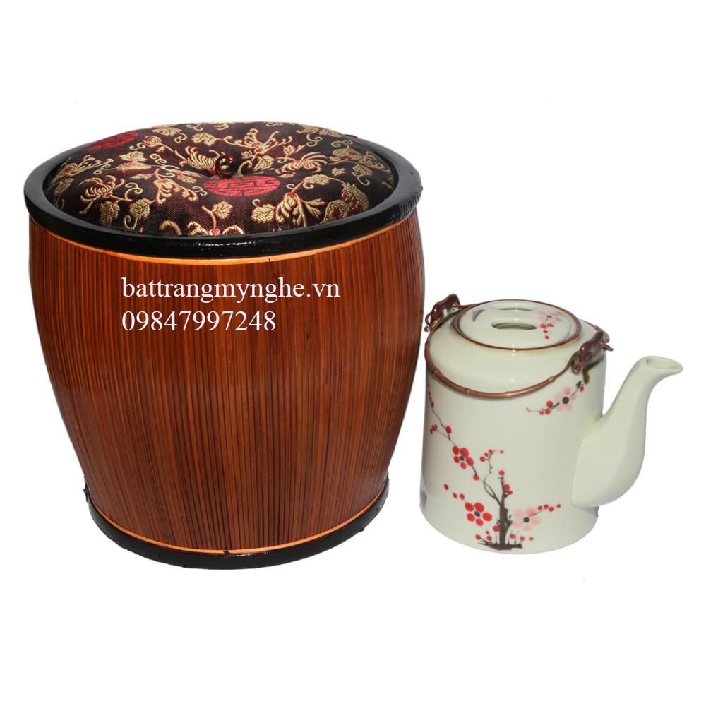 Ấm tích mem kem vẽ tay hoa đào & bao ủ ấm cao cấp Bát Tràng - 1,5lit
