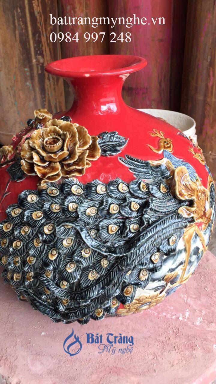 Bình hút tài lộc đắp nổi - công đào vinh hoa phú quý men hỏa - cao 36cm