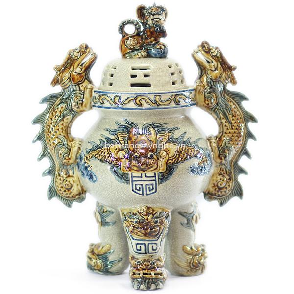 Đỉnh sứ Rồng nổi - men rạn cổ - cao 45 cm