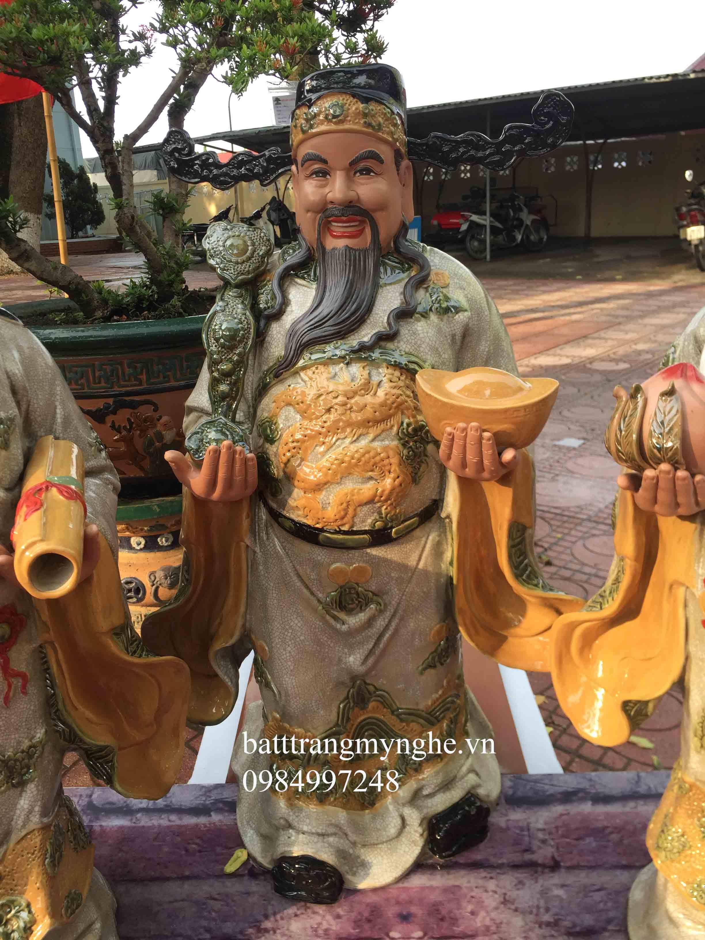 Tượng Tam Đa Tứ Linh Hội Tụ  - Cao 86 cm, rộng 38cm men rạn cổ