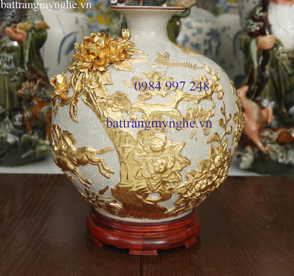 Bình hút tài lộc đắp nổi mã đáo thành công - men rạn cổ - rát vàng 9999 - cao 40cm