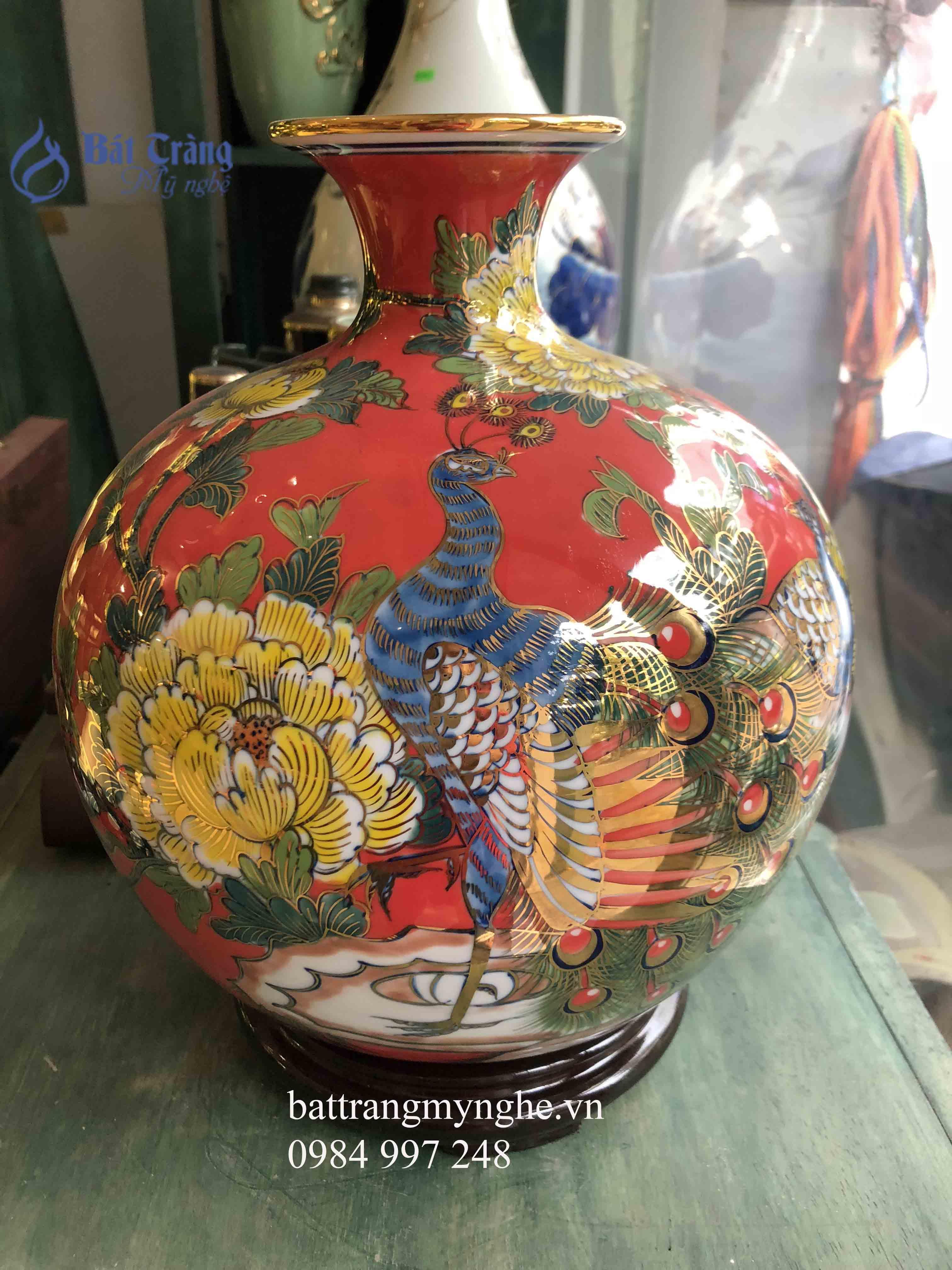 Bình hút tài lộc vẽ công hoa mệnh hỏa thổ cao 30cm