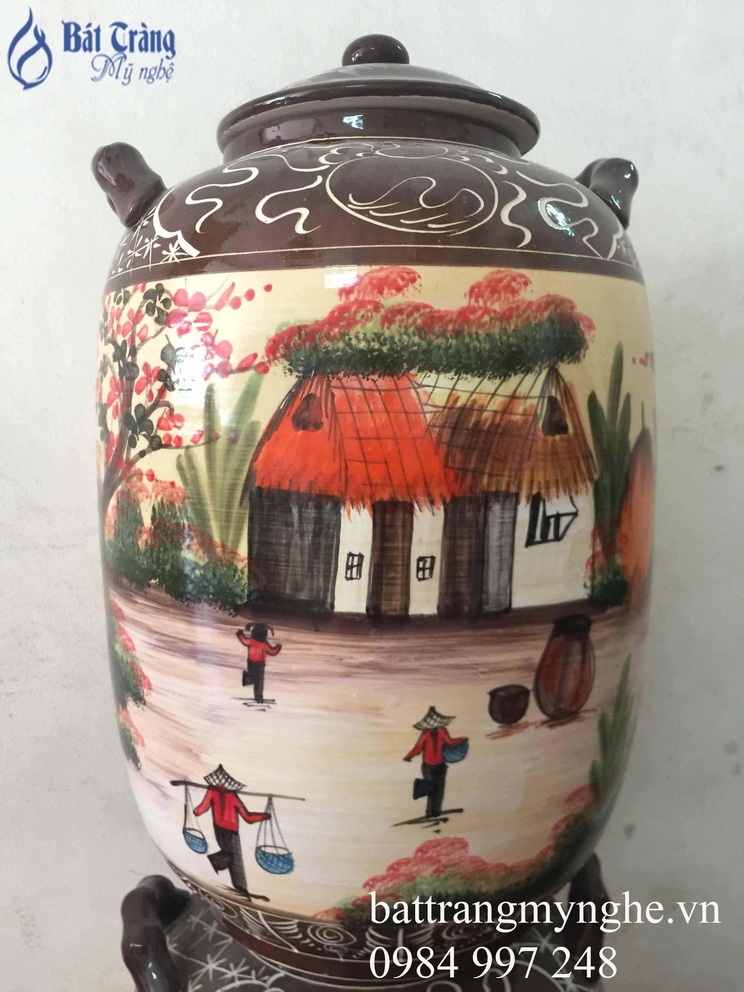 Bình ngâm rượu vẽ cảnh làng quê 30l