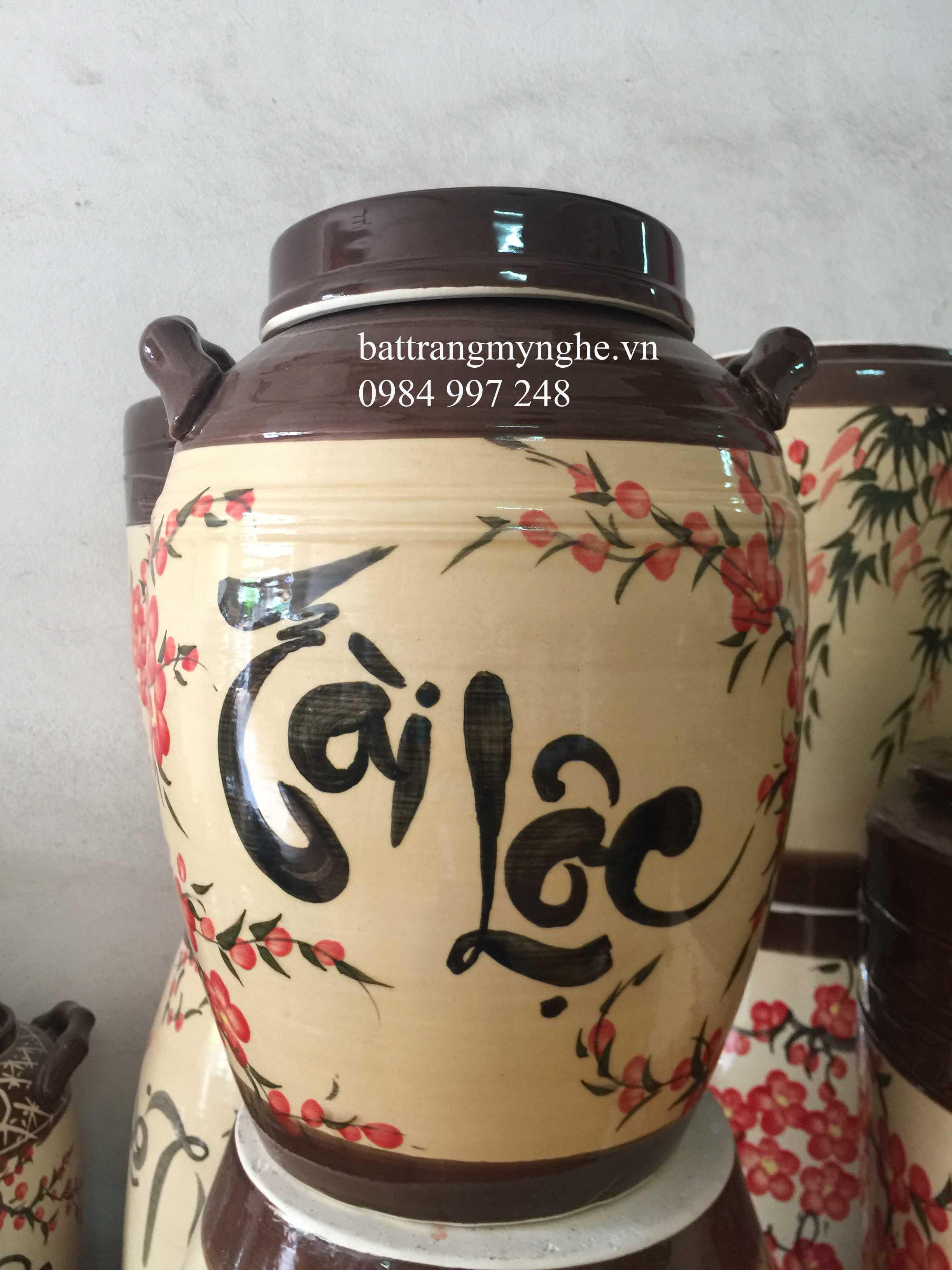 Bình ngâm rượu - tài lộc hoa đào - 20l