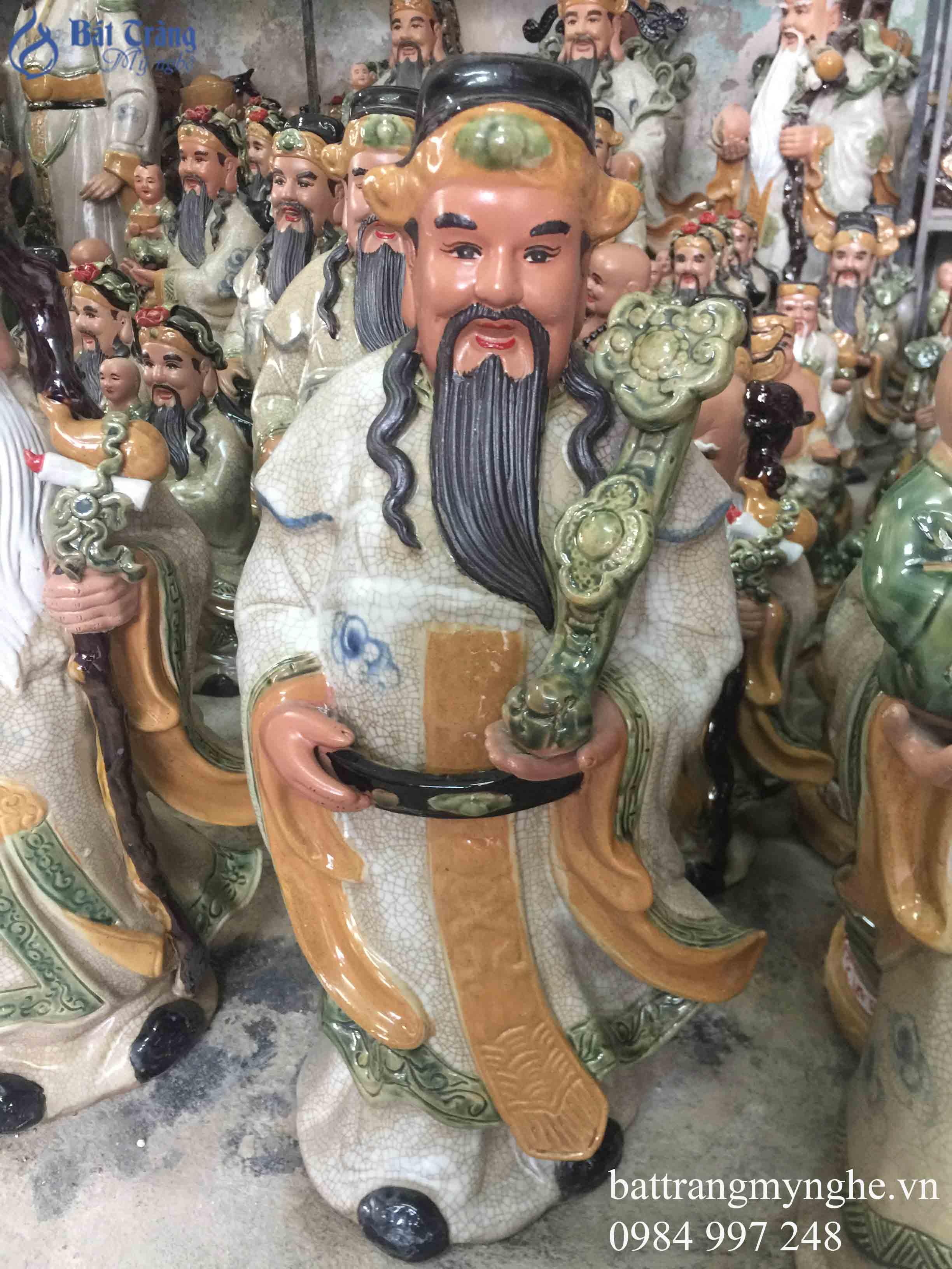 Tượng Phúc Lộc Thọ men rạn cao 50cm
