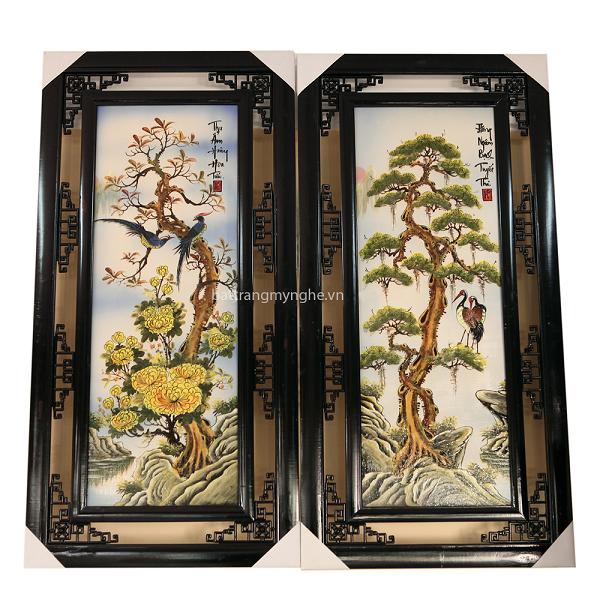 Tranh Tứ Quý - vẽ cảnh Tùng-Cúc-Trúc-Mai - Cao 1m, rộng 50cm