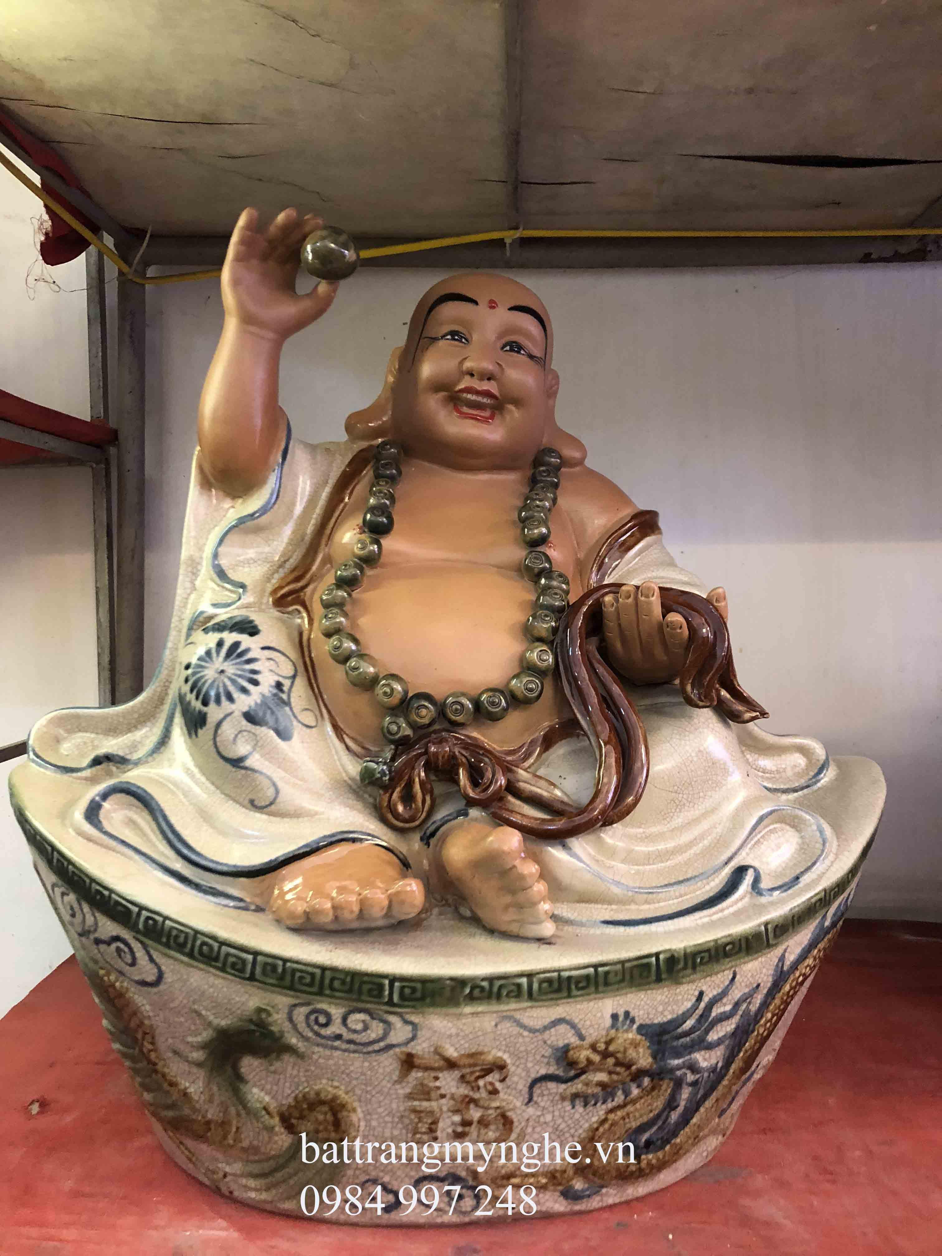 Tượng Di Lạc ngồi bệ đá cao 50cm men rạn