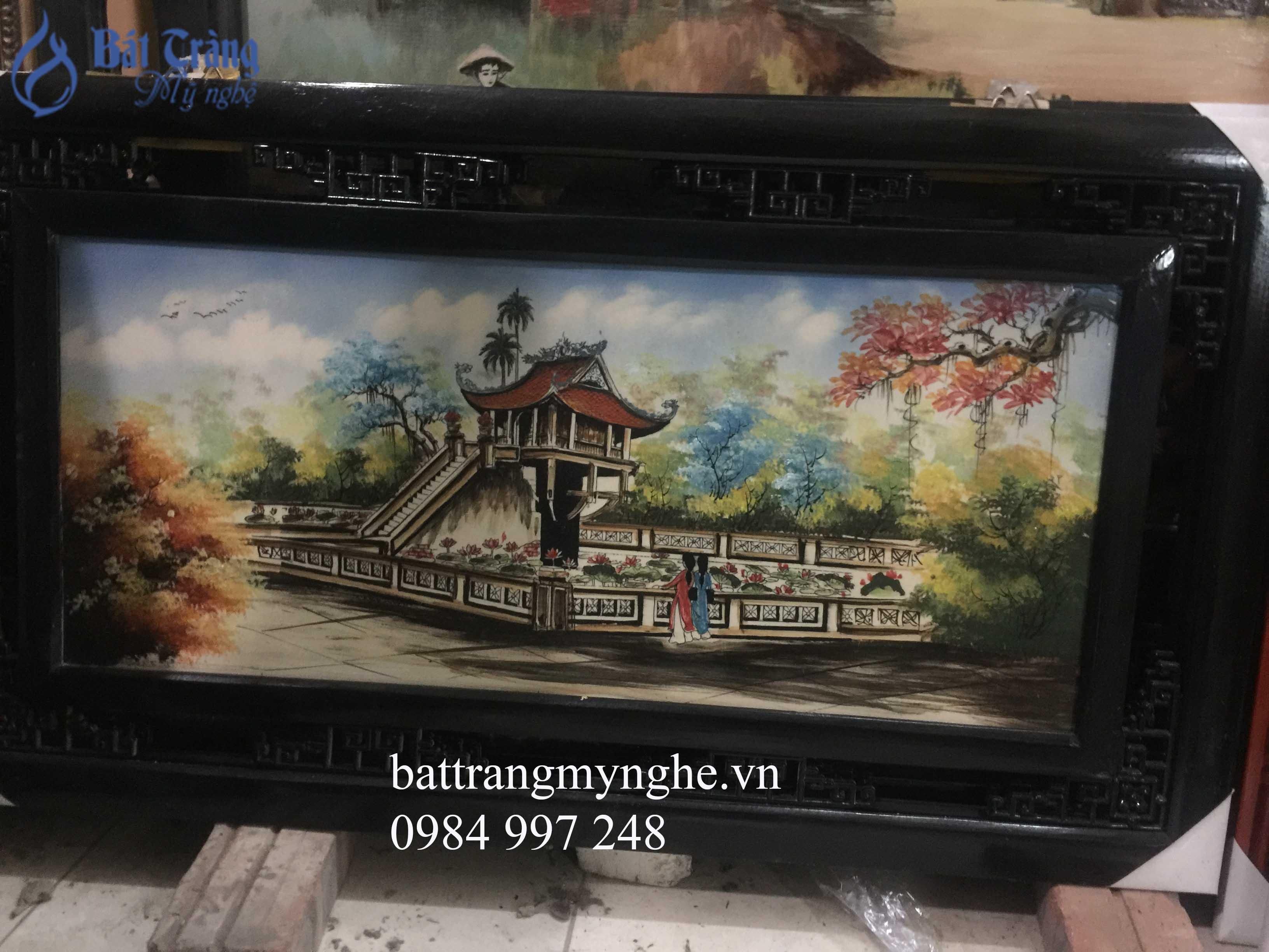 Tranh sứ màu vẽ cảnh chùa Một cột cả khung 50*80