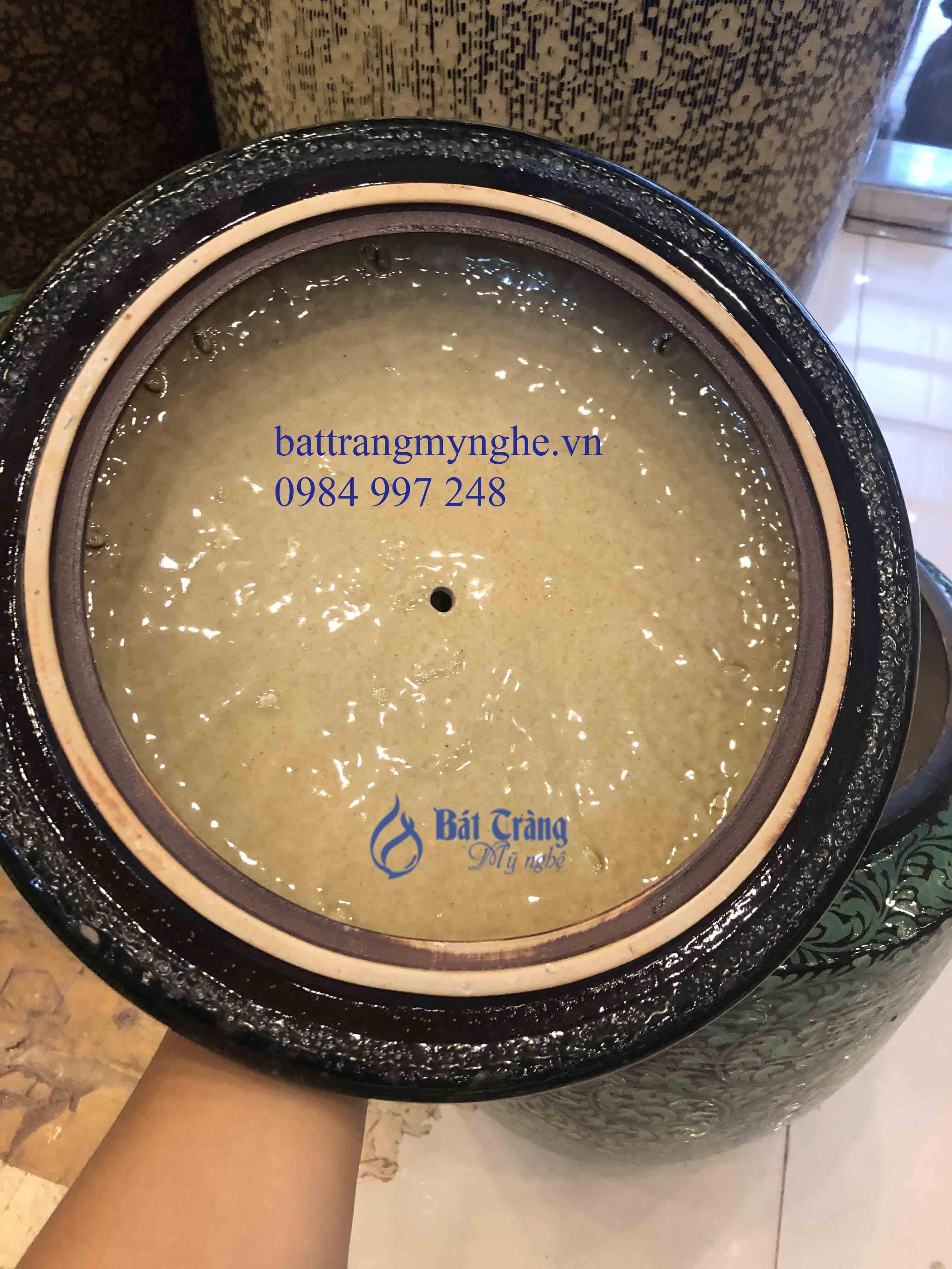 Hũ sứ đựng gạo men xanh vẽ hoa 30 kg