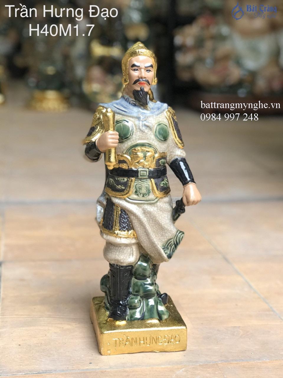 Tượng Trần Hưng Đạo dát vàng men rạn xanh cao 40cm