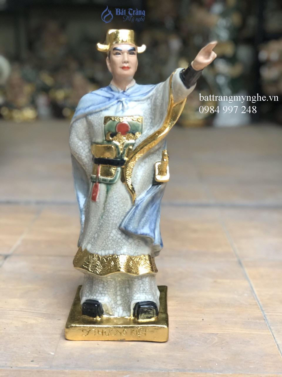Tượng Lý Thường Kiệt dát vàng men rạn cao 40cm
