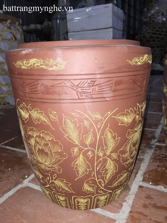 Hũ Sành đựng Gạo vẽ hoa sen 12 Kg