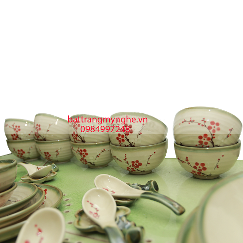 Bộ đồ ăn Bát Tràng 37 món - Hoa đào