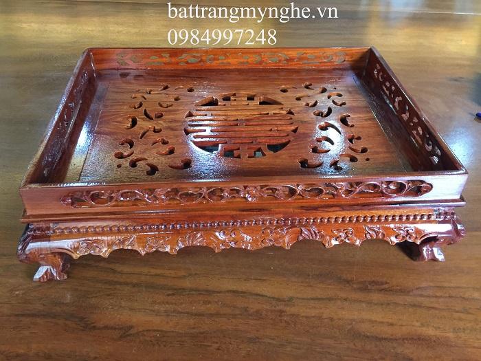 Khay gỗ hương cao cấp dài 50cm rộng 35cm chạm tinh xảo