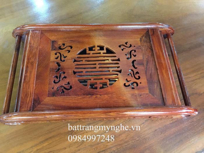 Khay gỗ hương cao cấp dài 50cm rộng 36cm