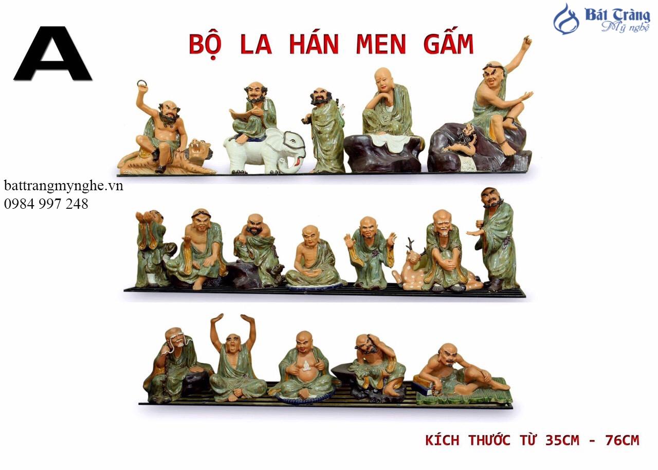 Tượng 18 Vị La Hán - Cao 76cm men gấm