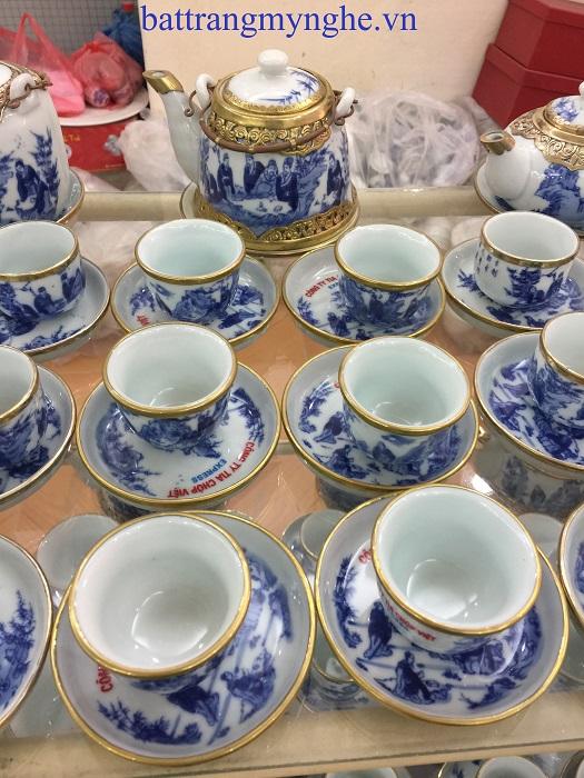 Bộ ấm trà vẽ bọc đồng dáng bầu