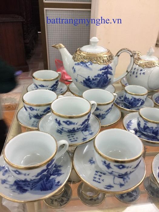 Bộ ấm trà vẽ dáng ML bọc đồng