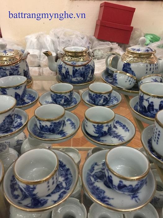 Bộ ấm trà vẽ bọc đồng dáng trống